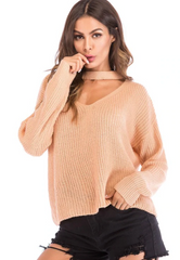 Cut Out Choker Neck Oversized Sweater