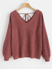 V Neck Drop Shoulder Oversized Sweater - Red Wine