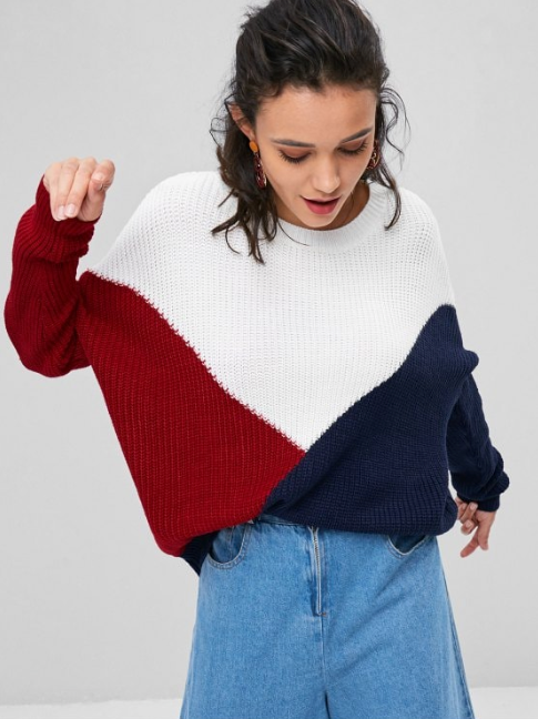 Color Block Tricolor Oversized Sweater