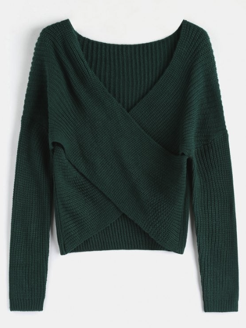 Chunky Knit Overlap Sweater - Deep Green