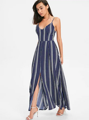 Bow Tie Cami Striped Maxi Dress - Midnight Blue