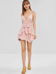 Ruffle Cami Polka Dot Mini Dress - Pink