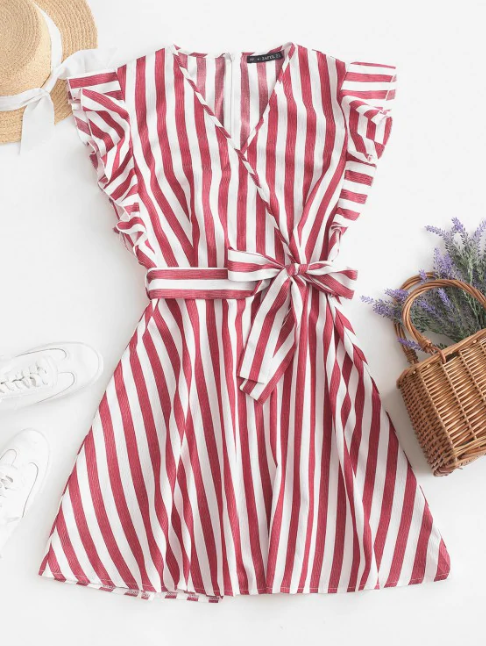 Striped Surplice Ruffled Belted Dress