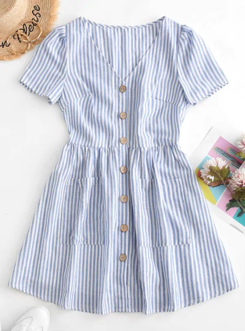 Button Down Striped Smock Dress