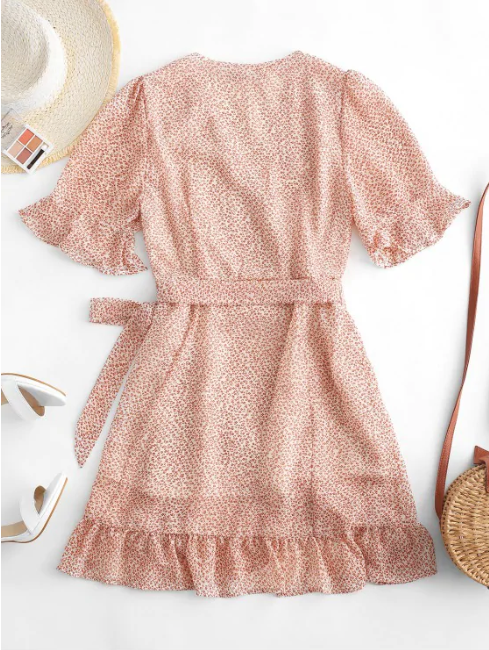 Ditsy Floral Ruffles Wrap Mini Dress