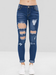 Distressed Holes Low Rise Jeans