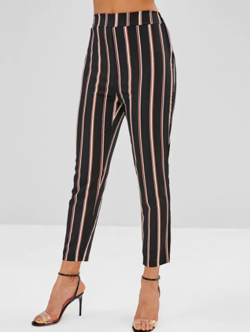High Waist Striped Pants