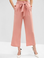 Pockets Belted High Waisted Wide Leg Pants