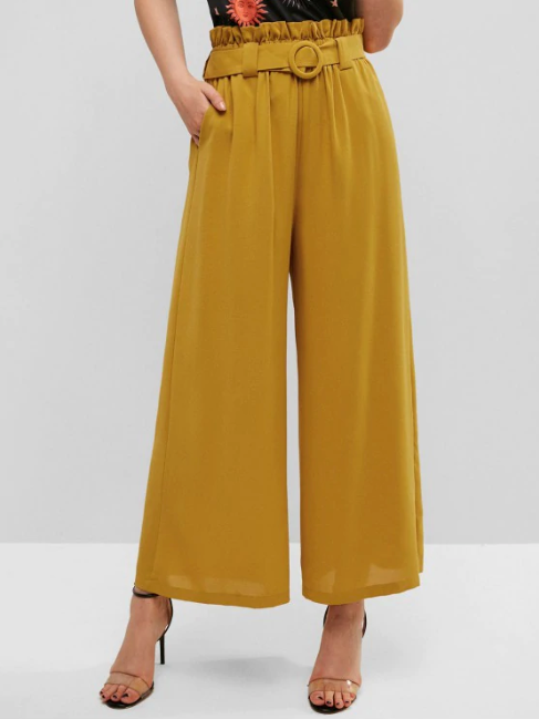Belted High Waisted Wide Leg Paperbag Pants