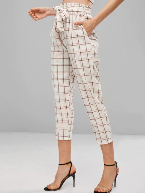 High Waisted Plaid Belted Pants