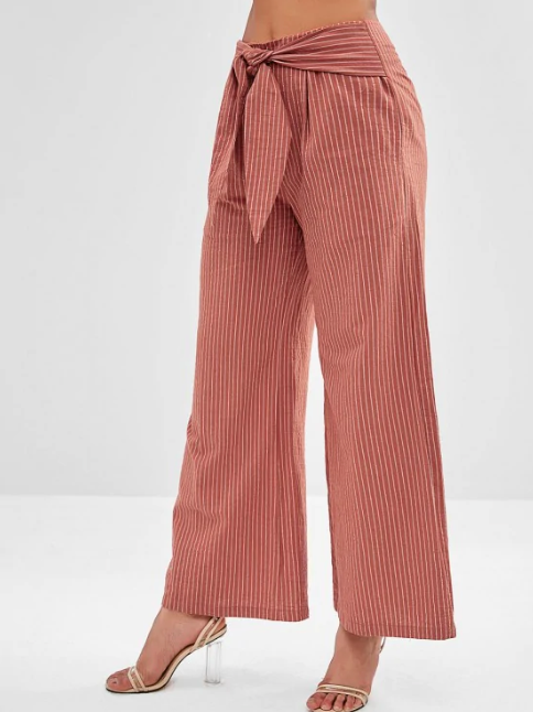 Striped Wide Leg Knot Pants