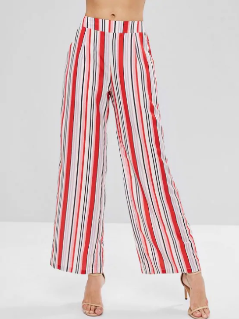 Colorful Striped Wide Leg Palazzo Pants