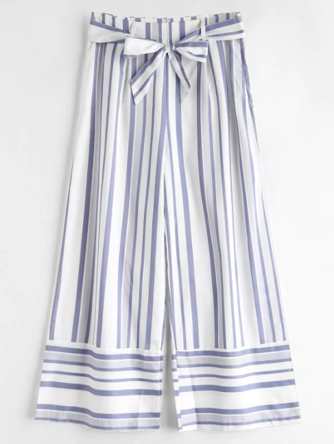 Belted Striped Wide Leg Pants - White