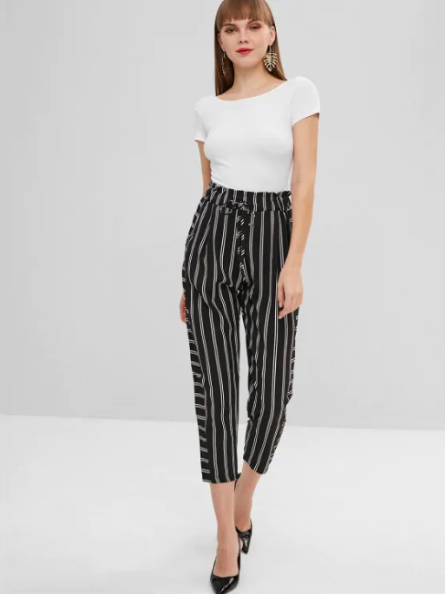 Elastic Waist Striped Sheer Pants - Black