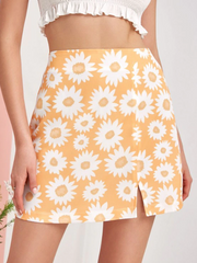 Flower Print Slit Mini A Line Skirt