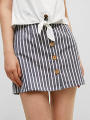 Striped Button Through Woven Mini Skirt