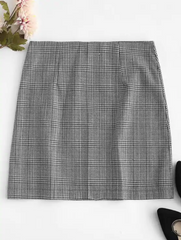 O Ring Zip-up Houndstooth Skirt
