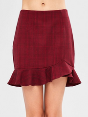 Ruffle Checked Mini Skirt