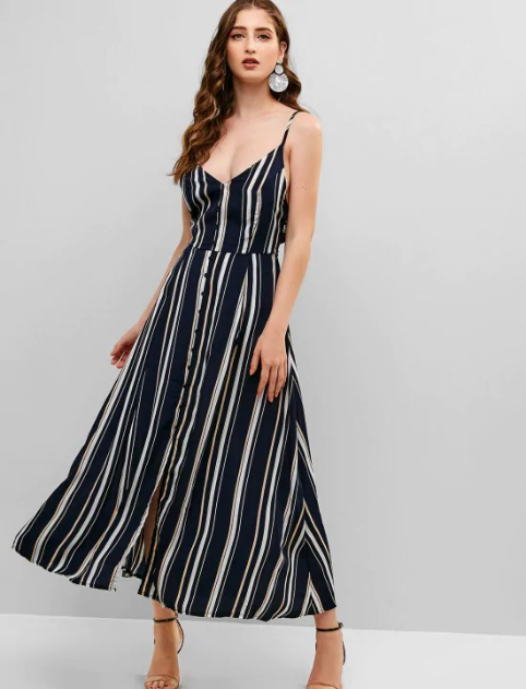 Tied Back Stripes Buttoned Slit Cami Dress