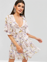 Open Back Frilled Ruffles Floral Dress