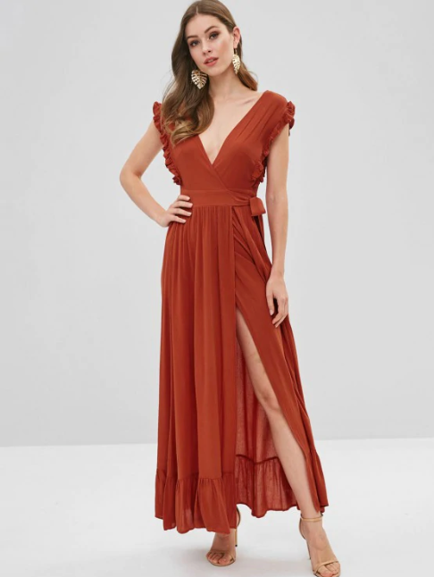 Ruffles Wrap Maxi Dress
