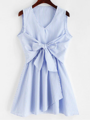 V Neck Striped Tie Front Sleeveless Dress