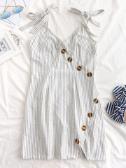 Tied Straps Buttoned Stripes Dress