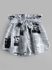 Newspaper Print Belted Loose Shorts