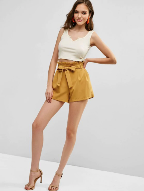 Belted Ruffled High Waisted Shorts