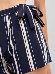 Striped Print Tie Knot Mini Overlap Shorts