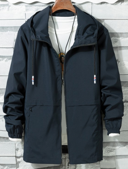 Solid Zipper Windbreaker Jacket