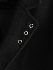 Single Breast Flap Pocket Overcoat - Black