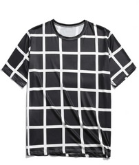 Allover Plaid Print Casual Short Sleeves T-shirt - Black