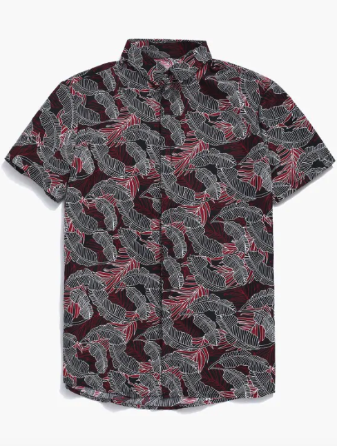 Button Up Tropical Leaf Print Shirt - Red