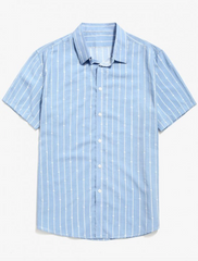 Button Up Striped Shirt - Sky Blue