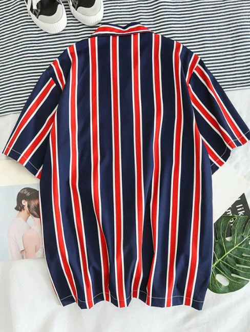 Stripes Print Button Up Casual Shirt
