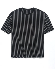 Striped Print Drop Shoulder T-shirt - Black