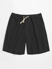Elastic Solid Color Drawstring Shorts