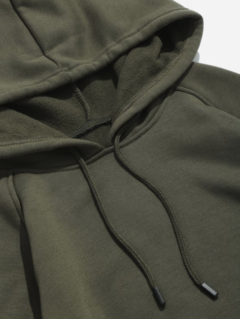Basic Solid Pouch Pocket Fleece Hoodie