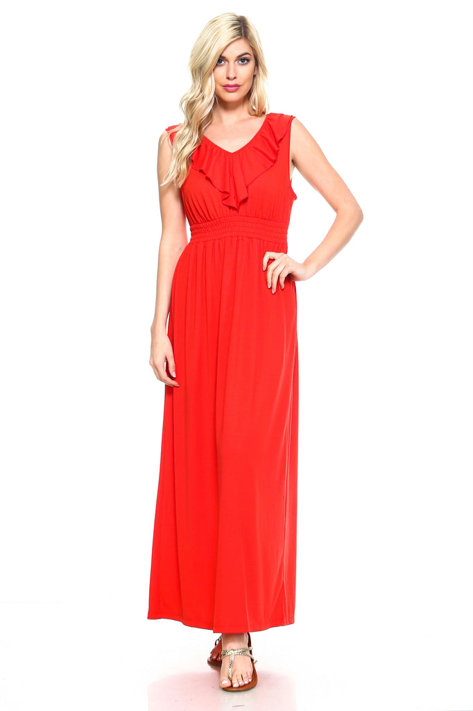 Women's Empire Waist Smocked Maxi Dress