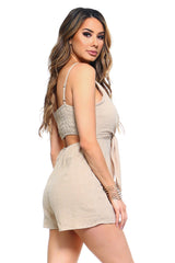 Women's Front Tie Tank Romper with Open back