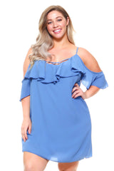 Women's Plus Size 3/4 Ruffle Cold Shoulder Dress