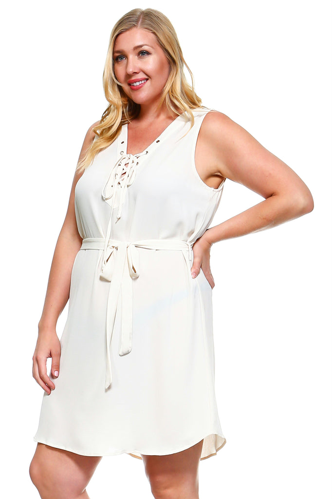 Women's Plus Size Double Tie Sleeveless Dress