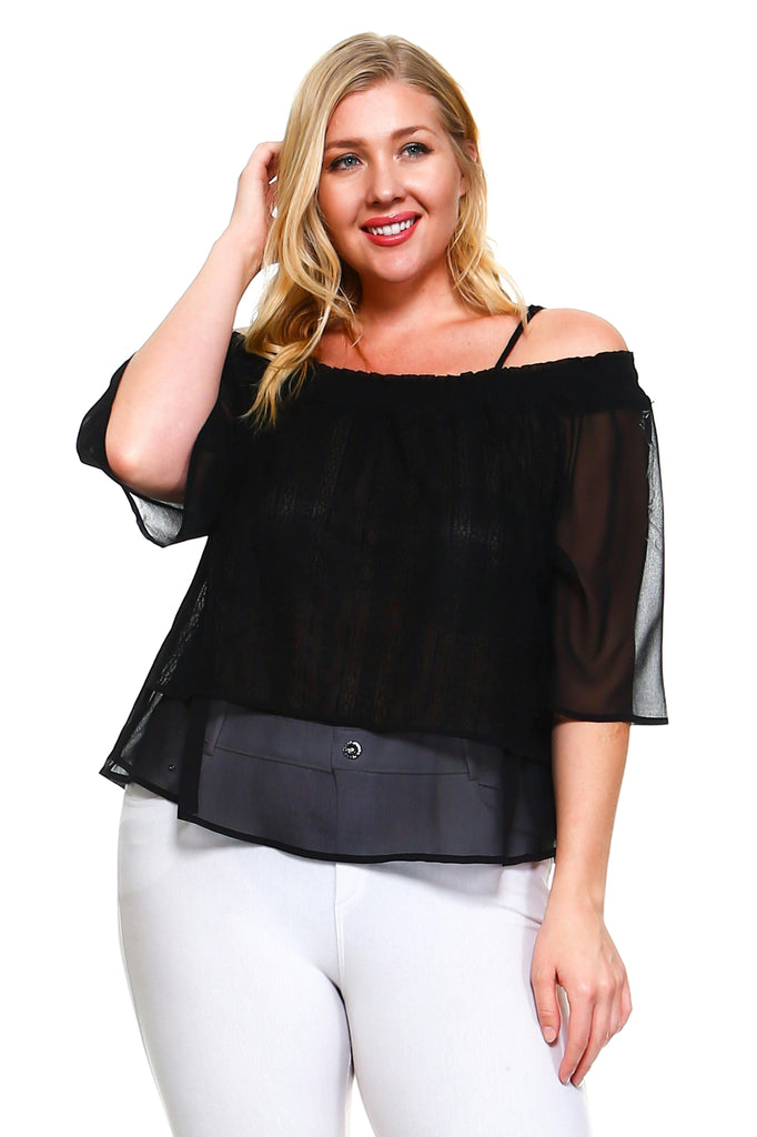 Women's Plus Size 3/4 Three Quarter Off Shoulder Tank Top