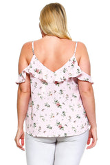 Women's Plus Size Cold Shoulder Floral Ruffle Top