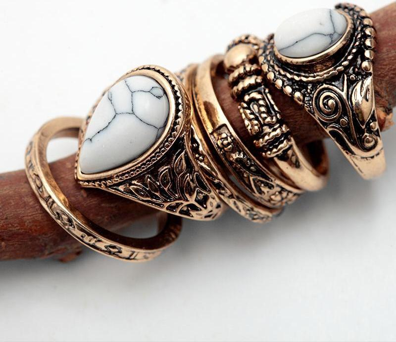 Women Vintage  Finger Ring Set Antique Gold Silver Plain Circle Jewelry