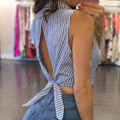 Striped Open Back Sleeveless Blouse