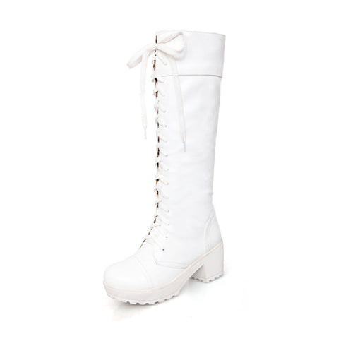 Lace Up Knee High Women Boots