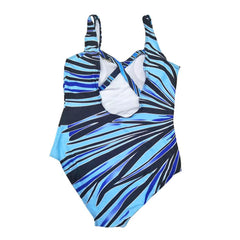 Plus Size Blue Striped One-Piece Swimsuit
