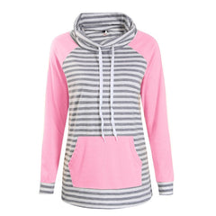 Women Striped Pullover Casual Hoodie